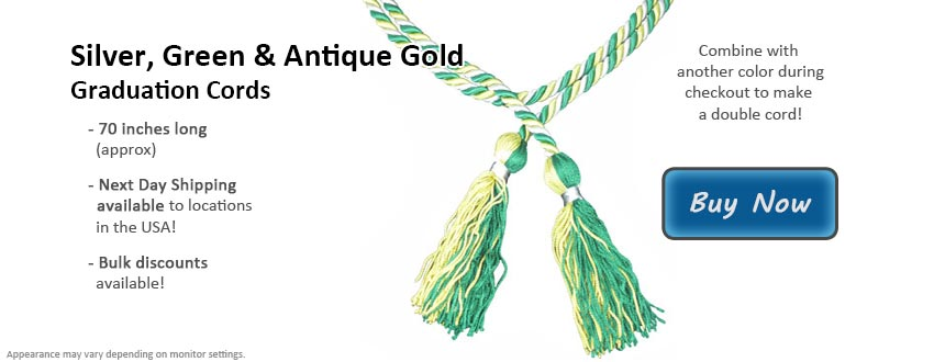 Silver, Green and Antique Gold Graduation Cord Picture