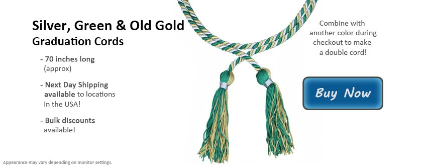 Silver, Green and Old Gold Graduation Cord Picture