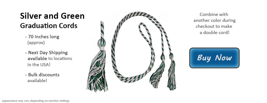 Silver and Green Graduation Cord Picture
