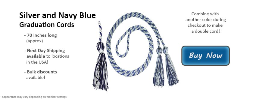 Silver and Navy Blue Graduation Cord Picture