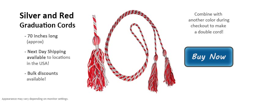 Silver and Red Graduation Cord Picture