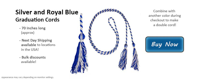 Silver and Royal Blue Graduation Cord Picture