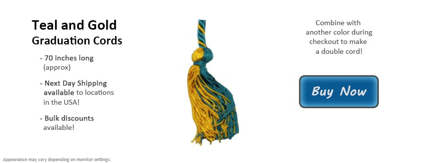 Teal and Gold Graduation Cord Picture