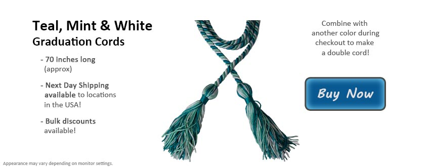 Teal, Mint Green, and White Graduation Cord Picture