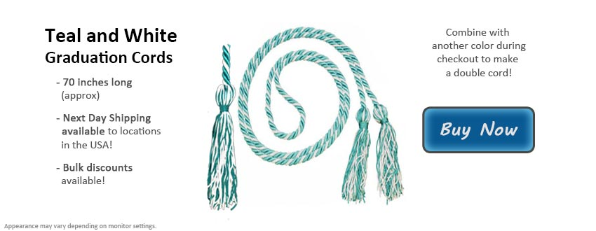 Teal and White Graduation Cord Picture