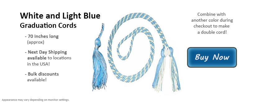 White and Light Blue Graduation Cord Picture