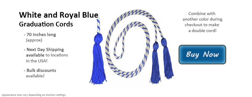 White and Royal Blue Graduation Cord Picture