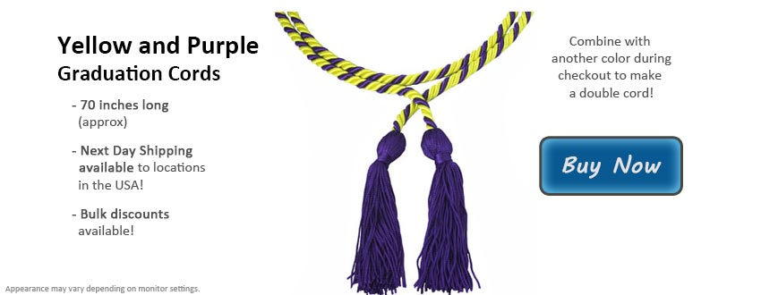 Yellow and Purple Graduation Cord Picture