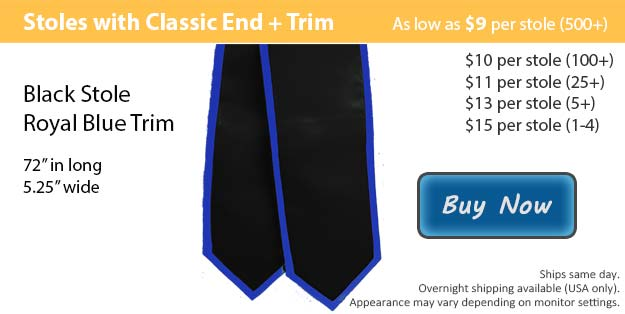 Black with Royal Blue Trim Graduation Stole Picture