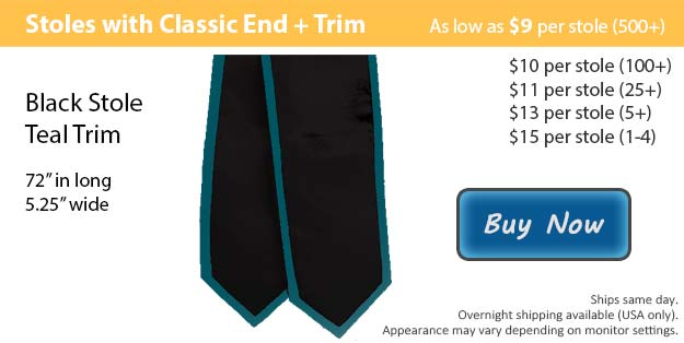Black with Teal Trim Graduation Stole Picture