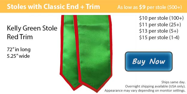 Kelly Green with Red Trim Graduation Stole Picture