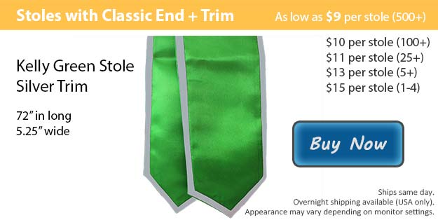 Kelly Green with Silver Trim Graduation Stole Picture