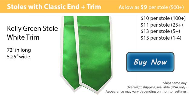 Kelly Green with White Trim Graduation Stole Picture