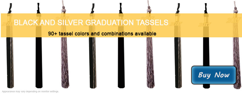 Graduation Tassels in Black and Silver
