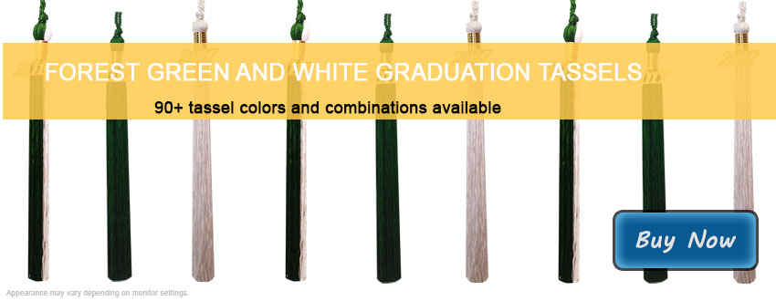Graduation Tassels in Forest Green and White