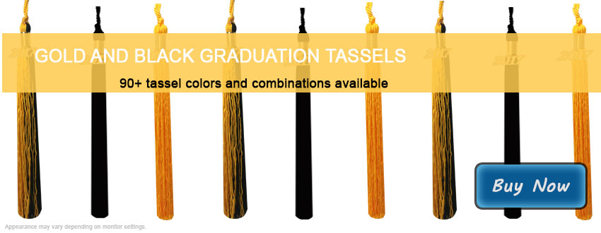 Graduation Tassels in Gold and Black
