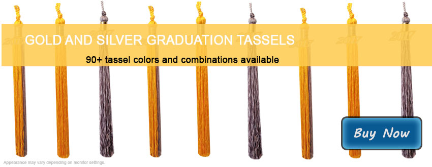 Graduation Tassels in Gold and Silver