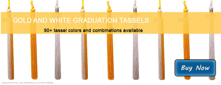 Graduation Tassels in Gold and White