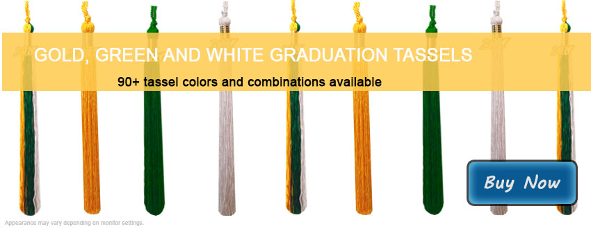 Graduation Tassels in Gold, Green and White