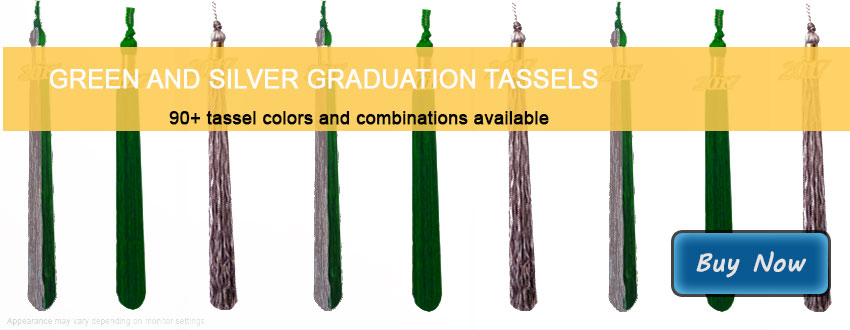 Graduation Tassels in Green and Silver