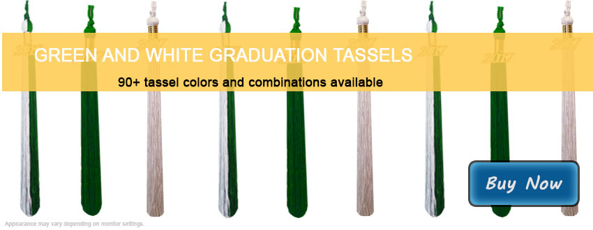 Graduation Tassels in Green and White