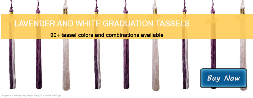 Graduation Tassels in Lavender and White