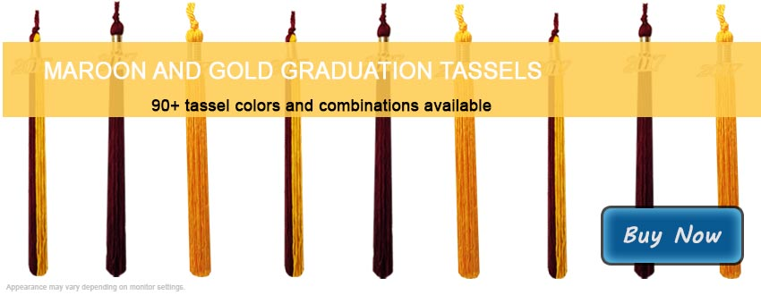 Graduation Tassels in Maroon and Gold