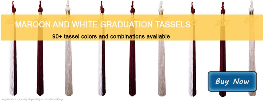 Graduation Tassels in Maroon and White