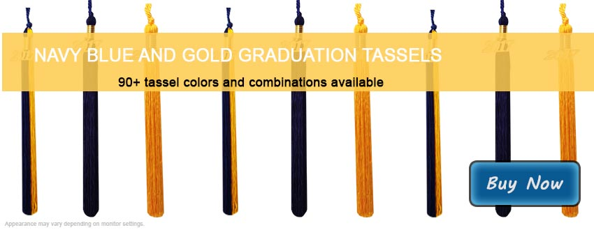 Graduation Tassels in Navy Blue and Gold
