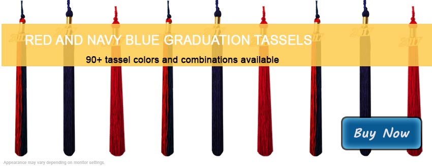 Graduation Tassels in Red and Navy Blue
