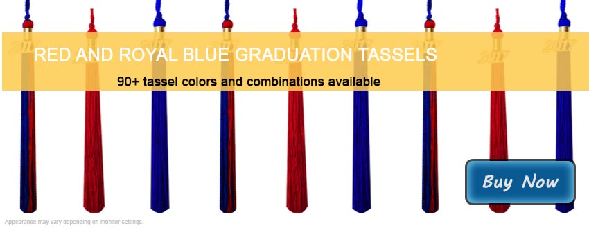 Graduation Tassels in Red and Royal Blue
