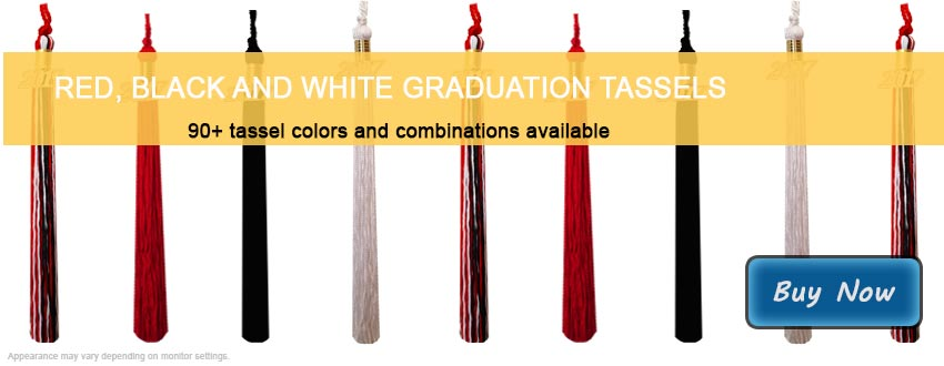 Graduation Tassels in Red, Black and White