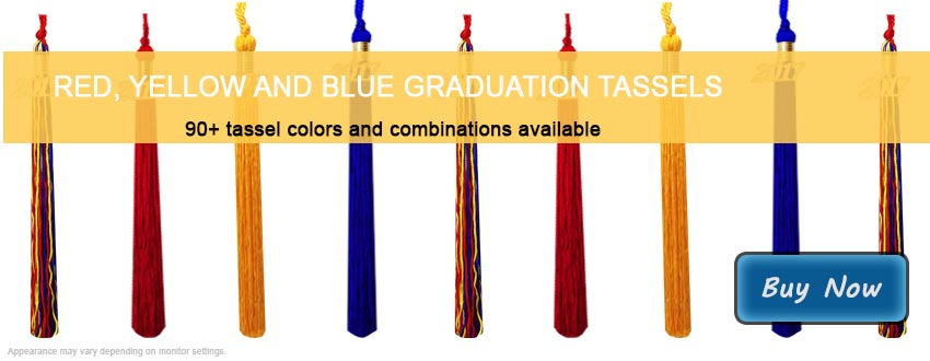 Graduation Tassels in Red, Yellow and Royal Blue