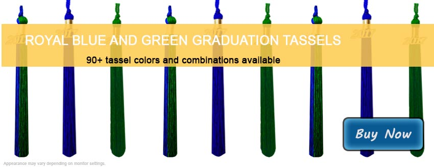 Graduation Tassels in Royal Blue and Green