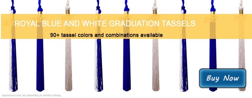 Graduation Tassels in Royal Blue and White