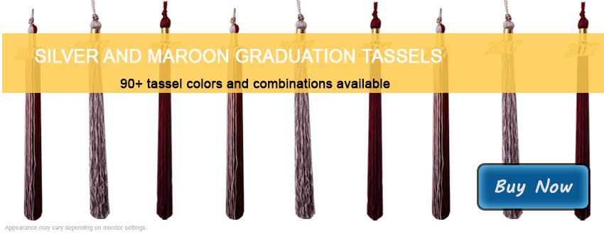 Graduation Tassels in Silver and Maroon