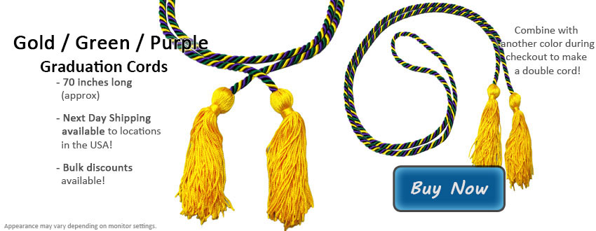 Green Gold and Purple Graduation Cord Picture