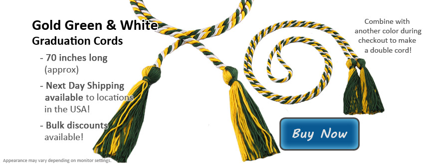Green, Gold, and White Graduation Cord Picture