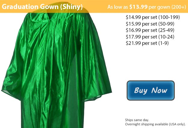 Shiny Emerald Green Graduation Gown Picture