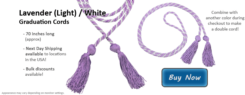 Lavender and White Graduation Cord Picture