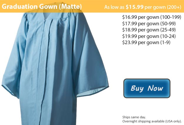 Matte Light Blue Graduation Gown Picture