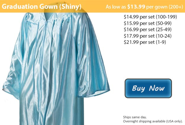 Shiny Light Blue Graduation Gown Picture