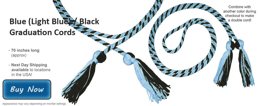 Light Blue And Black Graduation Cord Picture