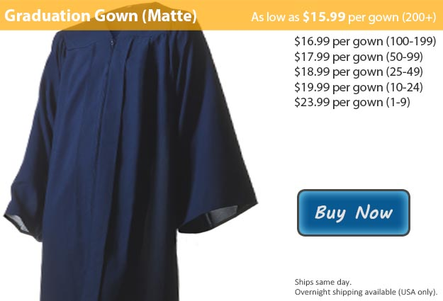 Matte Navy Blue Graduation Gown Picture