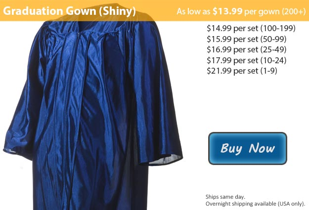 Shiny Navy Blue Graduation Gown Picture