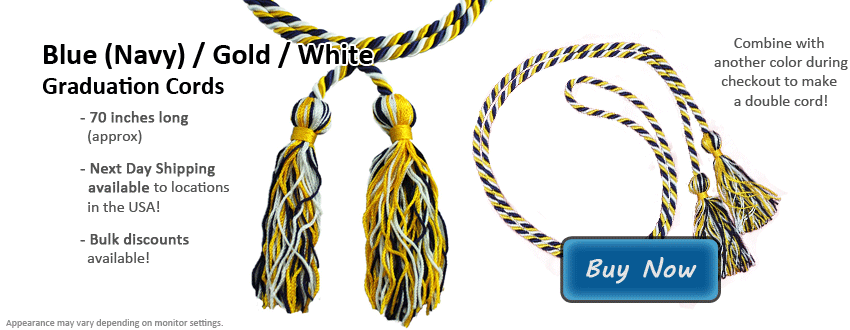 Navy Blue, Gold, and White Graduation Cord Picture