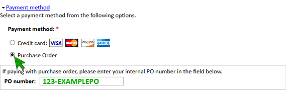 Placing a PO - Change to PO payment method.