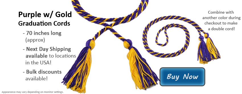 Purple with Gold Graduation Cord Picture