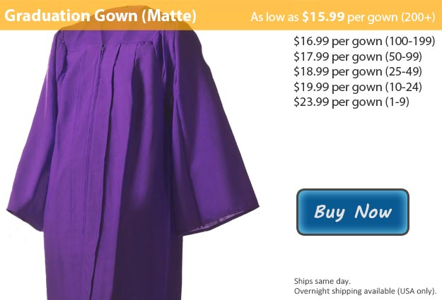 Matte Purple Graduation Gown Picture