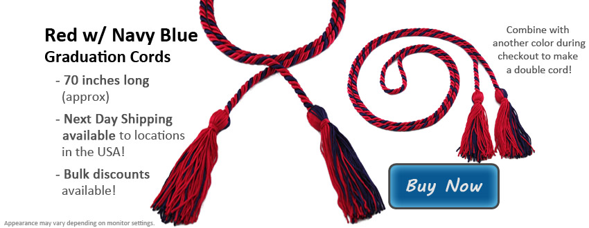 Red with Navy Blue Graduation Cord Picture